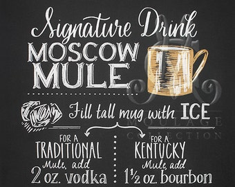 Moscow Mule Signature Drink printable, Kentucky bourbon or traditional recipe, chalkboard style drawing, instant digital download