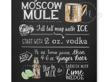 Moscow Mule printable, traditional vodka recipe, chalkboard style drawing, instant digital download