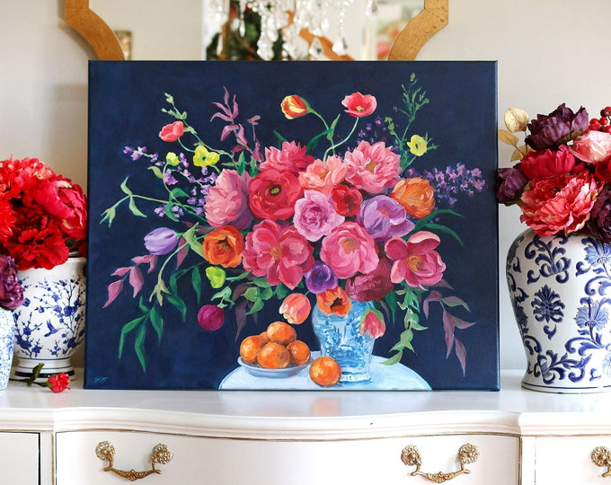Featured listing image: Chinoiserie pink bouquet, original acrylic painting of ginger jar, flowers, and oranges