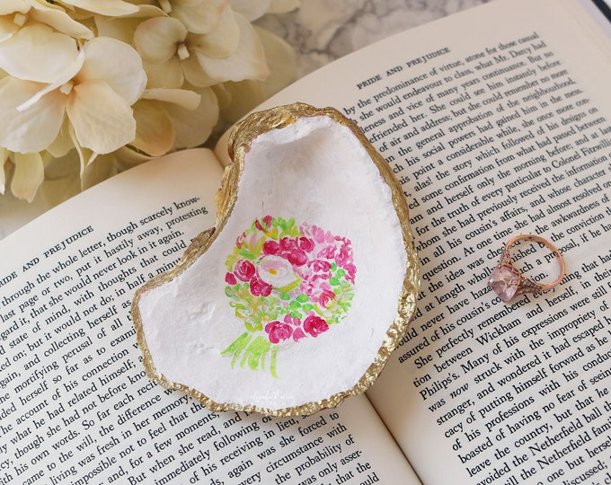 Featured listing image: Custom oyster shell ring dish, hand-painted with your bridal bouquet or your choice of design