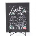 "Tea drink menu for bar, 15""x20"" or 16""x20"" art board, custom ink drawing by hand, chalkboard art inspired"