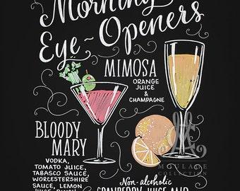 Brunch menu printable, Morning Eye-Openers, chalkboard style drawing, instant digital download