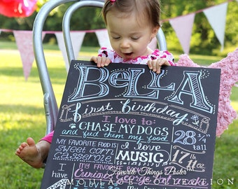 """First birthday chalkboard style custom ink drawing, 16""""x20""""  the original Favorite Things Poster™"""