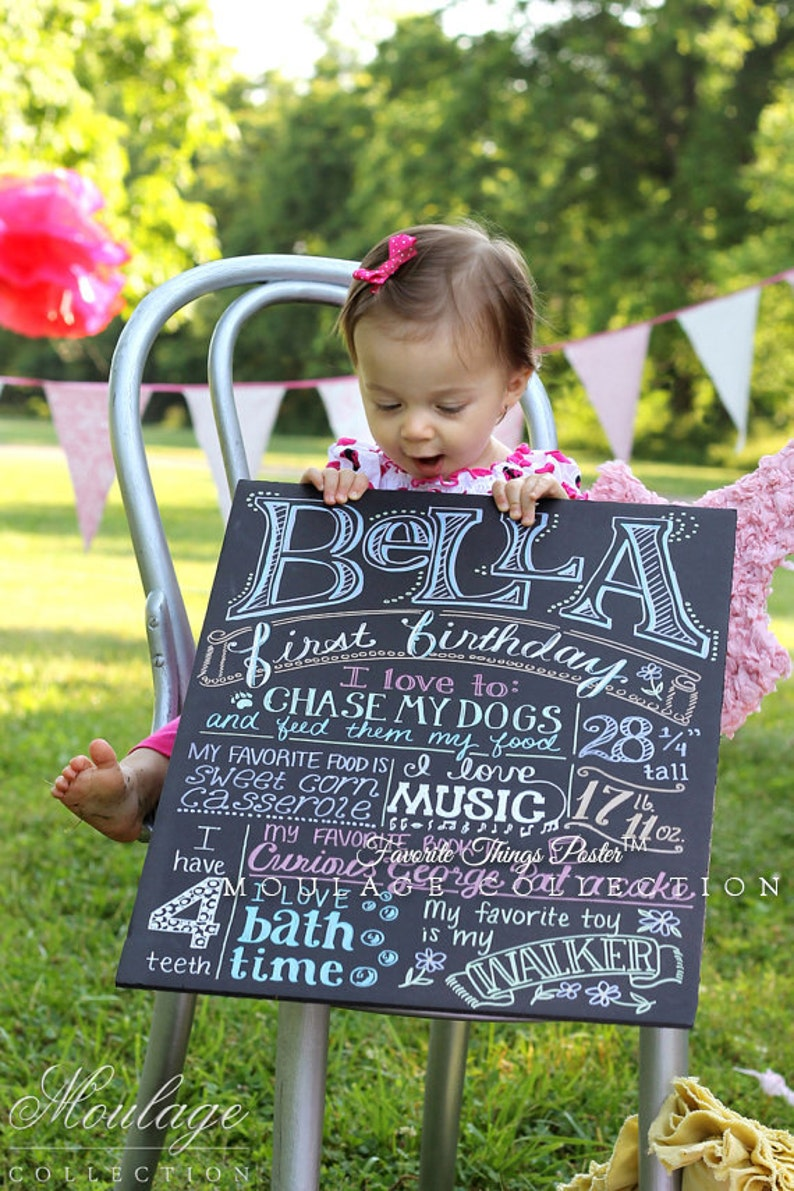 First birthday chalkboard style custom ink drawing on 15x20 image 0