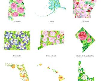 State flower watercolor sticker