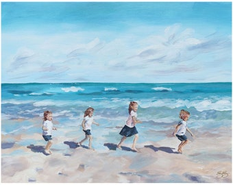 Four Sisters At The Beach, A Fine Art Print On Canvas
