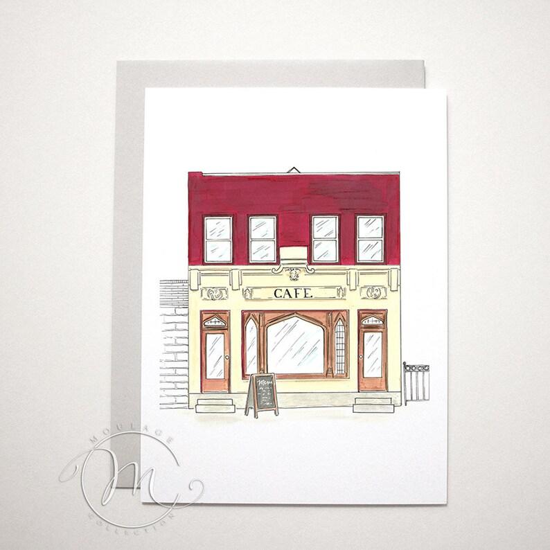 Cafe illustration note card image 0