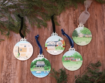 Custom hand-painted ornament of your home, pet, or more