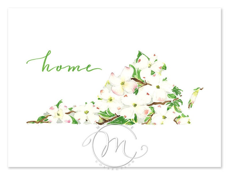 Virginia Dogwood state flower art print of a watercolor image 0