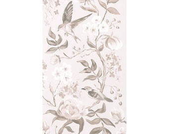 Taupe Chinoiserie No. 2, A Fine Art Print On Canvas