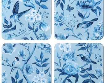 Set Of 4 Blue Chinoiserie Coasters