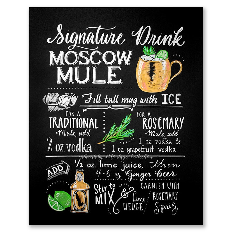 Rosemary Moscow Mule printable chalkboard style drawing image 0