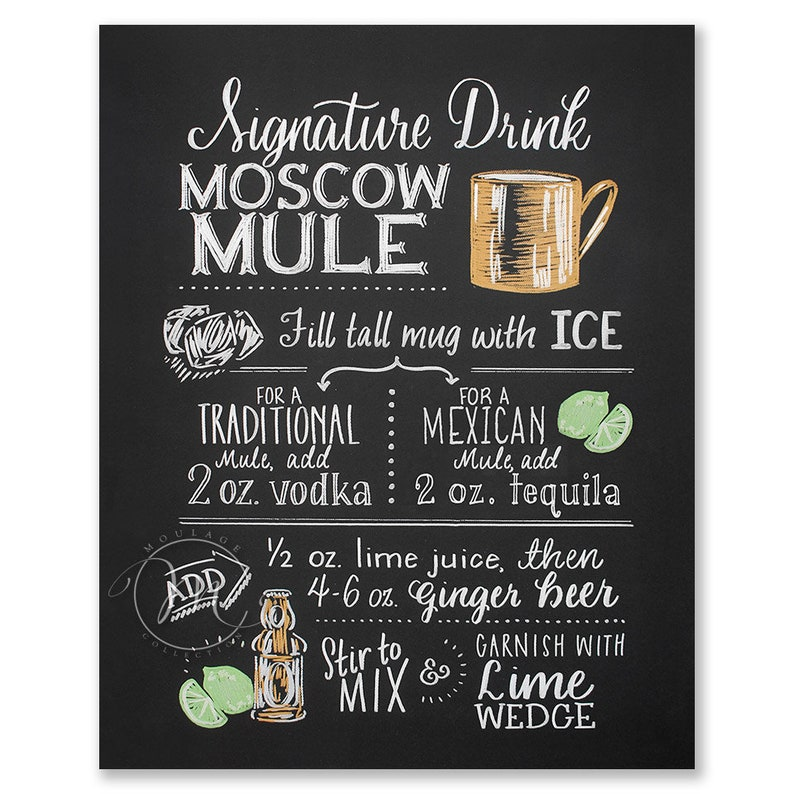 Moscow Mule Signature Drink printable Mexican tequila or image 0