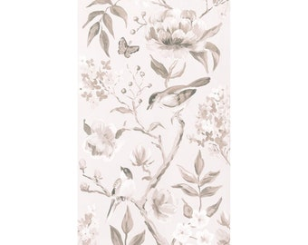 Taupe Chinoiserie No. 1, A Fine Art Print On Canvas