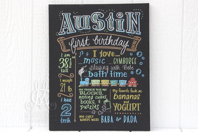 16x20 canvas first birthday chalkboard style image 0