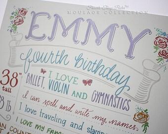 "Custom birthday drawing on 16""x20"" gray-blue art board, the original Favorite Things Poster™"