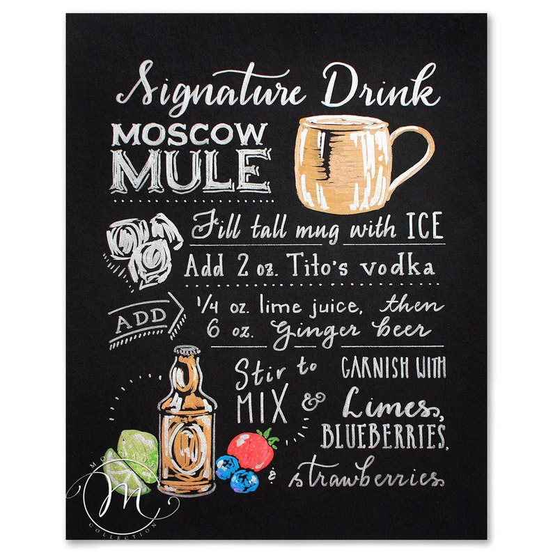 Berry Moscow Mule printable chalkboard style artwork instant image 0
