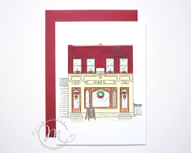 Cafe Christmas card illustration of historic building image 0
