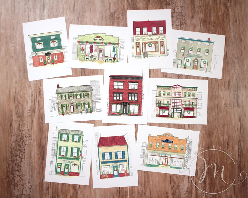 Set of 10 Christmas cards Main Street historic buildings image 0