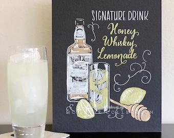 "Signature drink menu, 8""x10"" art board, custom ink drawing by hand"