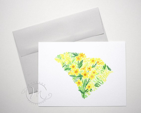 South Carolina State Flower Note Card Yellow Jessamine And Etsy