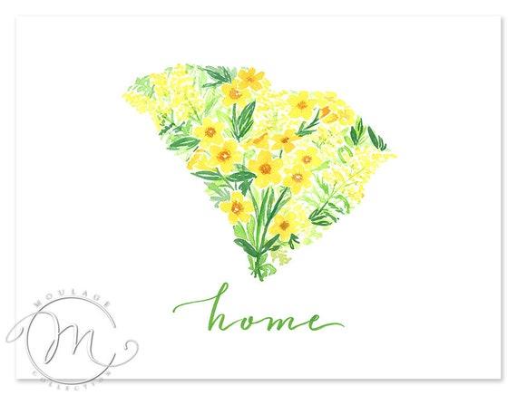 South Carolina Yellow Jessamine And Goldenrod State Flower Etsy