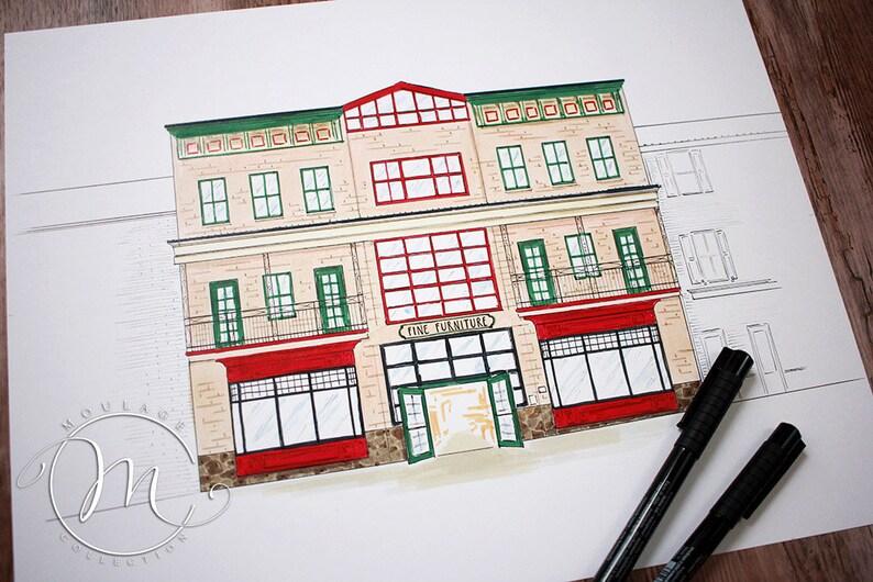 Furniture Store Main Street ink drawing image 0