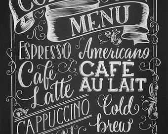 Coffee Menu printable, chalkboard style drawing, instant digital download