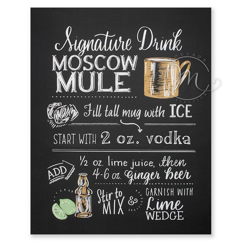 Moscow Mule printable traditional vodka recipe chalkboard image 0