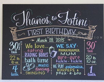 """Favorite Things Poster™ for twins, 15""""x20"""" art board, first birthday chalkboard style custom ink drawing"""