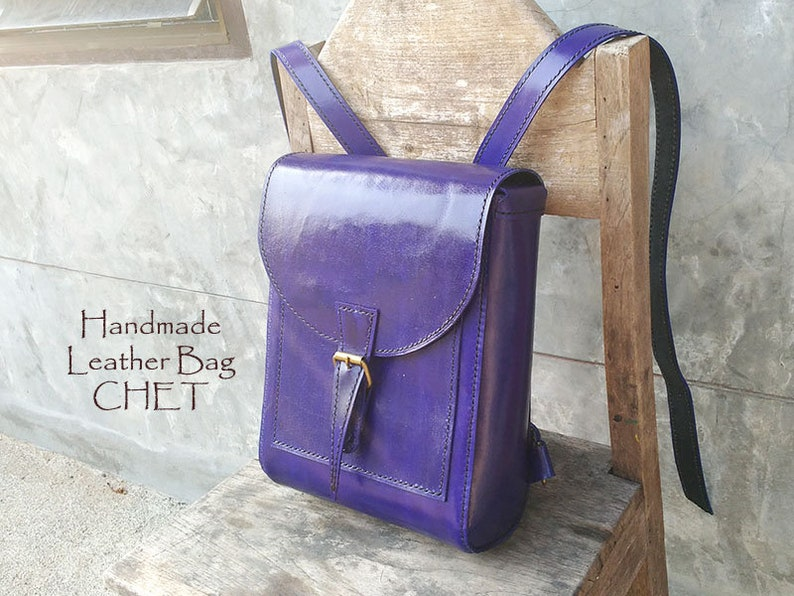 20/%Off SALE! Leather back pack Blue for women men made of saddle leather