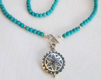 Handmade Turquoise Necklace Sterling Silver Front Toggle Contemporary Moroccan Pendant Necklace