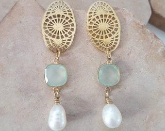 Handmade Pearl Gold Chalcedony Sun Rays Dangle Earrings Dressy Blue and White Pearl Earrings