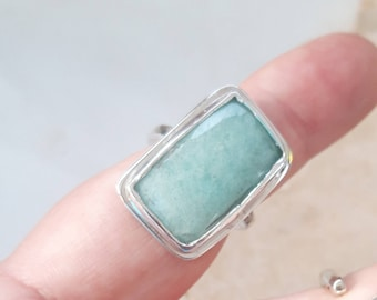 Handmade Amazonite Sterling Silver Ring Large Gemstone  ring  - size US 7.5 Euro 56 Recycled Silver