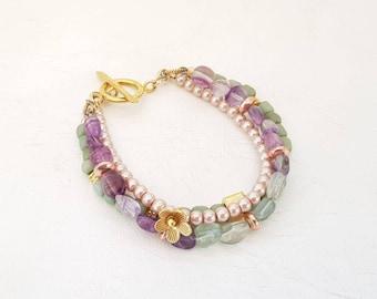 Multi Strand Gemstone Bracelet  Pastel Gold Toggle Bracelet Romantic
