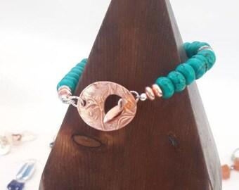Handmade Turquoise Copper Bracelet Chunky Gemstone Bracelet