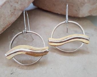 Handmade Gold and Silver Waves Hoops Dangle Earrings
