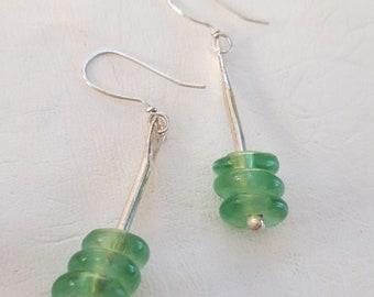 Handmade Jewelry Earrings Sterling Silver and West African Recycled Green Glass Dangle Earrings Modern Earrings