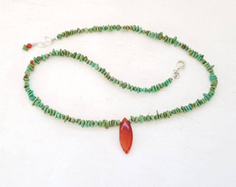 Handmade Turquoise Necklace Green Turquoise Carnelian Gemstone Nugget Necklace