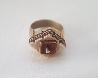 Special Rare Architectual Vintage Tuareg Moroccan Wood Inlay and Silver Ring - size US 9.75 Euro 62