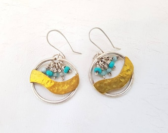 Handmade Hoop Earrings Sterling Silver Golden Waves Hoop Earrings Turquoise and Aquamarine Skies