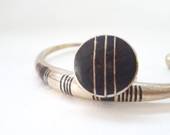 BIG Unique Vintage Morocco Wood Inlay and Silver Ring Tuareg style - size US 9.5 Euro 61