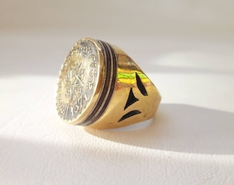 BIG Vintage Morocco 1952 Coin Gold and Wood Moroccan Ring Tuareg style - size 58 US 8.5