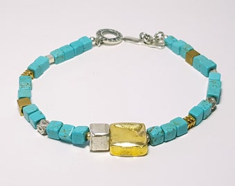Boxy Delicate Cube Turquoise 22k Vermeil Gold Mixed Metal Sterling Silver Toggle Bracelet medium