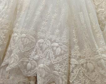 SALE Off white Lace Fabric , Retro Embroidered Lace Fabric, French Lace Fabric, Bridal Lace Fabric