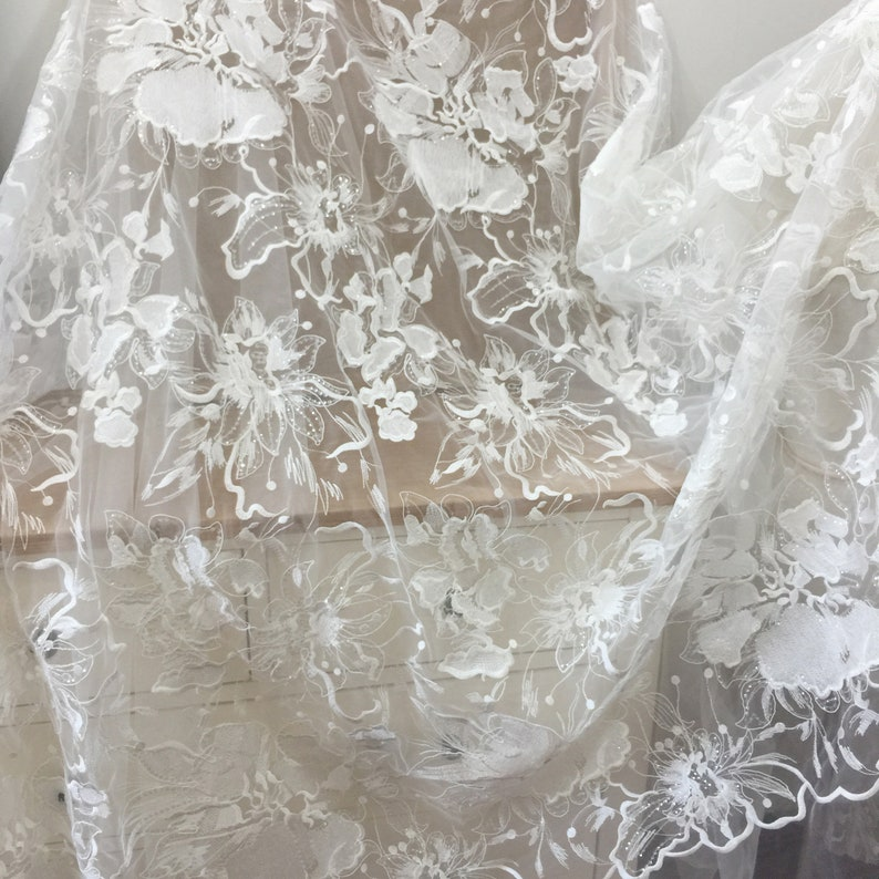 Taiwan Made Large Floral Embroidery Lace Fabric with Clear Sequin Soft Tulle Floral Embroidery Mesh Couture Fabric