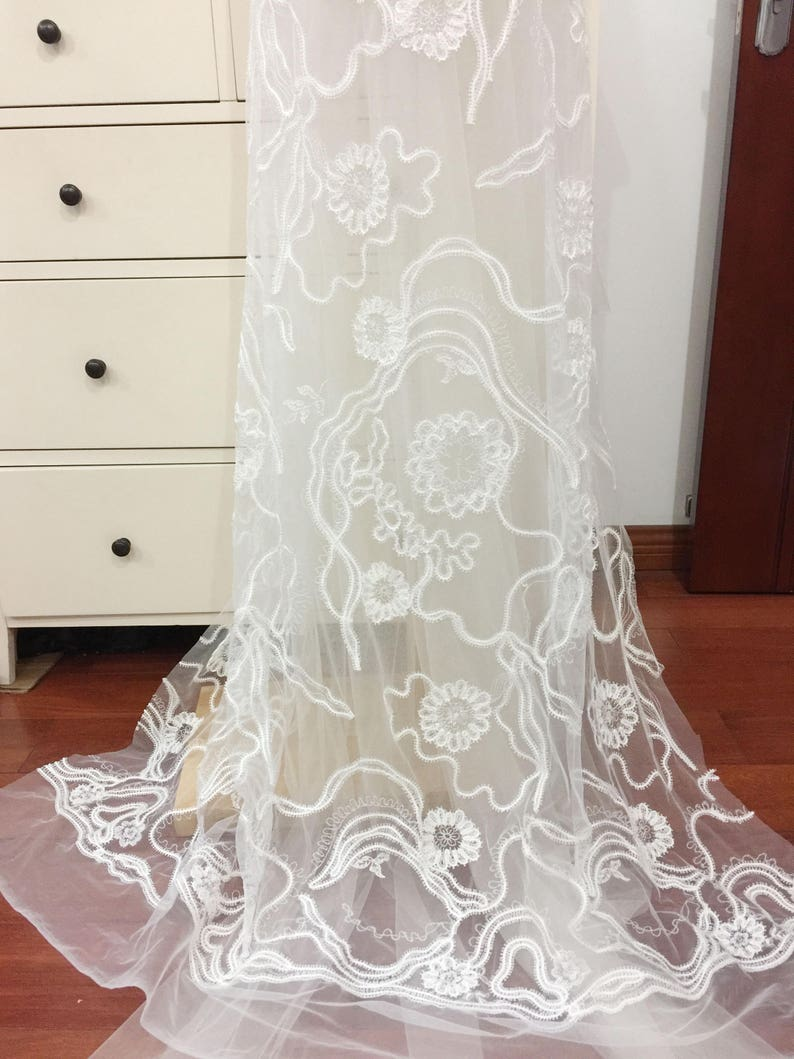 3D Alencon Embroidered Soft Tulle Lace Fabric Flroal Wedding Gown Lace Dress Fabric