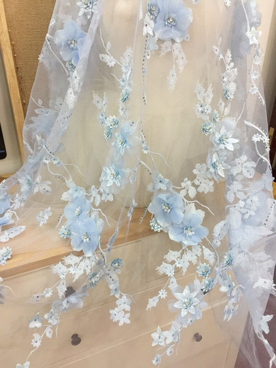 Sky Blue 3d Lace Fabric Luxury 3d Rhinestone Beaded Flowers Etsy