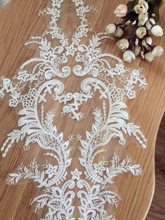 Wedding Lace Applique, Bridal Gown Applique, Ivory Lace Applique, Floral Embroidery Lace Applique