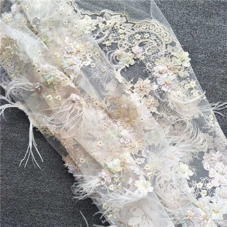 727aced75ce1f Luxury 3D Pearl Beaded Lace Fabric with Feather and Pastel Embroidery  ,Exquisite Haute Couture Wedding Gown Bridal Lace Fabric by Yard